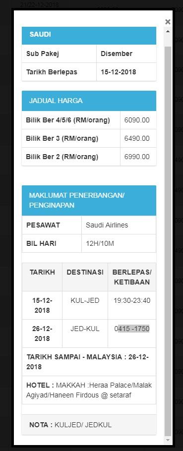 Tarikh penerbangan dan harga tiket